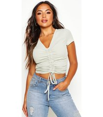 petite ribbed ruched detail top, sage
