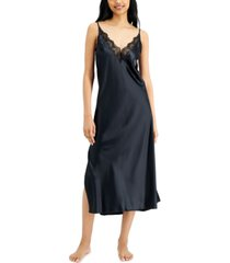 inc international concepts lace-trim long satin chemise nightgown, created for macy's