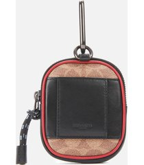 coach men's hybrid 8 guang yu zip wallet - khaki/red