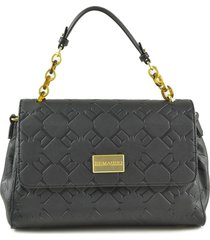 ermanno scervino black embossed e medium satchel bag
