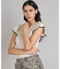blusa feminina em tricô com babado na manga decote redondo bege