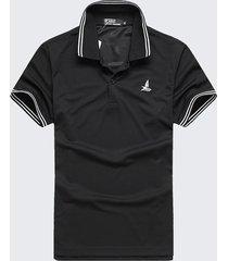 camicie da golf a maniche corte da uomo, estive, quick dry, a righe, collo alto