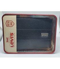 levis hombres capacidad slimfold cartera billetera en cuero negro