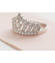 0.75ct diamond 925 solid engagement princess tiara crown ring 14k white gold fn