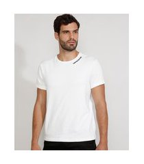 "camiseta masculina slim manga curta gola careca limited edition"" com relevo branca"""