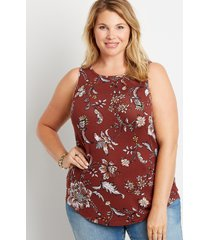 maurices plus size womens 24/7 red floral high neck tank top