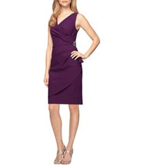women's alex evenings side ruched cocktail dress, size 16 - purple