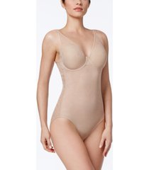 maidenform women's ultra-light firm tummy-control sheer lace bodysuit m6552