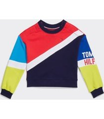 tommy hilfiger girl's adaptive colorblock popover sweatshirt rosy cheeks/multi - s