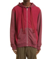 loewe bicolor anagram logo embroidered cotton hoodie, size x-large in burgundy/red at nordstrom