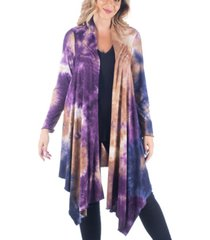 women's plus size knee length open front tie dye cardigan