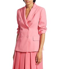 akris punto women's genaro wool twill double-breasted jacket - cherry blossom - size 12