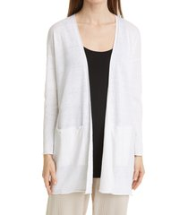 eileen fisher organic linen & cotton longline cardigan, size large in white at nordstrom