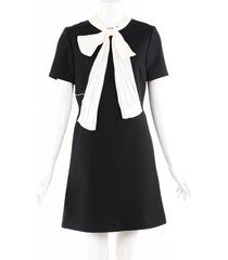 gucci black wool white silk tie short sleeve a-line dress black sz: m