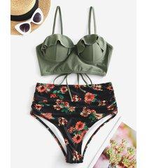 floral ruffles lace-up push up bikini swimsuit