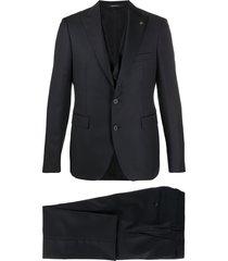 tagliatore peaked-lapel three-piece piqué suit - black
