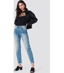 na-kd front zipper panel jeans - blue