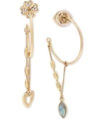 bcbgeneration gold-tone pave flower & evil eye mismatch swag hoop earrings