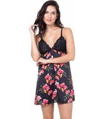 camisola cetim homewear estampado- 589.0724 marcyn lingerie pijamas multicolorido
