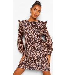 luipaardprint sweatshirt jurk met kraag, tan