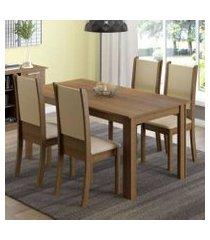 conjunto sala de jantar madesa melissa mesa tampo de madeira com 4 cadeiras rustic/crema/sintético bege