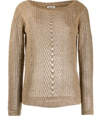 liu jo sheer knitted sweater - neutrals