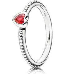 anel de prata eterno coração rubi