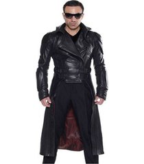 men leather coat winter long  leather coat genuine real leather trench coat-uk44