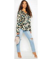 satijnen luipaardprint blouse, black