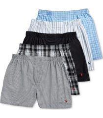polo ralph lauren men's 5-pack woven boxers