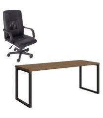 mesa de escritório kappesberg 1.90m com cadeira trevalla tl-cde-28-1