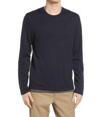 men's vince lightweight double layer merino wool t-shirt, size xx-large - blue