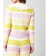 olivia rubin women's rupi cable knit cardigan with cotton collar - angel cake stripe - l