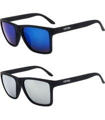 kit 2 óculos de sol otto em grilamid® tr-90 quadrado preto fosco espelhados