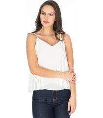 blusa de tiras blanca efecto recogido