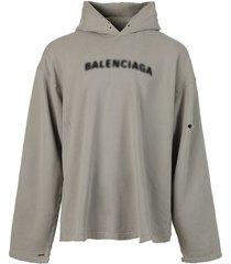 blurry logo hoodie steel grey