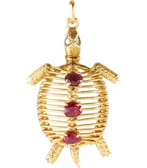 cartier 'turtle' diamond ruby gold pendant