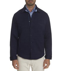 robert graham men's renson tailored-fit shirt jacket - navy - size l