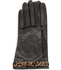calf hair leopard-print bow leather gloves