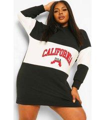 plus california sweatshirt jurk met capuchon, black