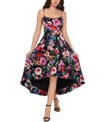 xscape floral-print high-low dress