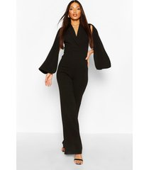 tall cape plunge wide leg jumpsuit, black