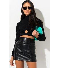 akira broken hearted girl faux leather mini skirt