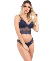 conjunto imi lingerie sem bojo cropped em renda stefanie azul marinho - azul marinho - feminino - renda - dafiti