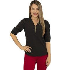 elvira burgos - blusa para dama elegante de moda en chalis poliéster- ref 77172309 – negro