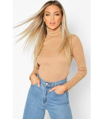 rib turtle neck long sleeve top, camel