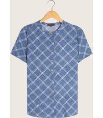 blusa azul de cuadros azul l