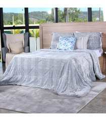 cobertor slim peles casal com porta travesseiro grigio - tessi. - estampado - dafiti