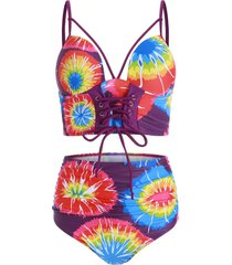 lace up ruched tie dye tankini swimsuit