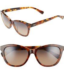 women's maui jim canna 54mm polarizedplus2 cat eye sunglasses - mocha tortoise/ bronze
